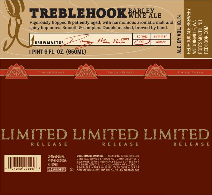 Label from the Redhook Treblehook Barley Wine (Limited Release)